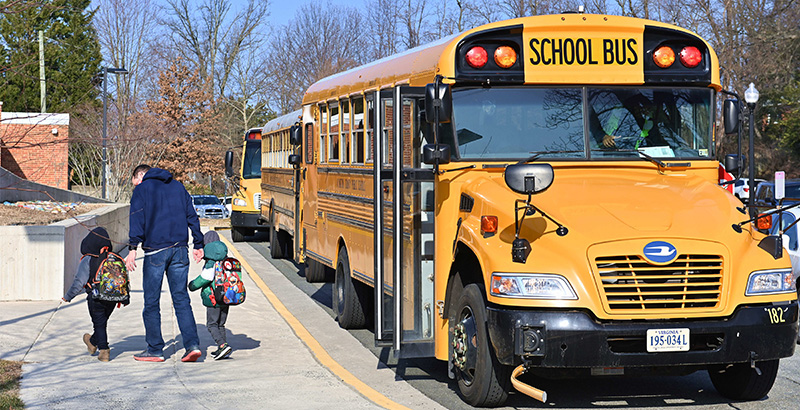 A man and two children walk on a sidewalk near a line of yellow school buses